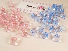 40x Blue/Pink Acrylic Dummy Pacifier Baby Shower Games Favour Decoration