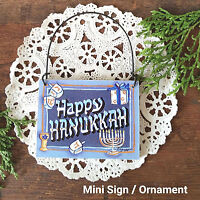Door Hanger Mini Gift Sign Ornament HAPPY HANUKKAH Menorah Jewish Holiday