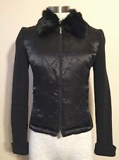 BEBE Black Bomber Puffer Winter Jacket With Fur Rabbit Collar Size Small