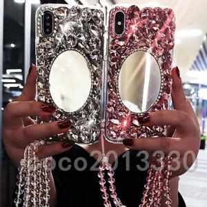3D Handmade Luxury Sparkle mirror Bling Diamonds stones Soft Phone Case & strap