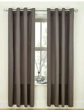 CANVAS GREY CURTAINS EYELET RING TOP UNLINED PLAIN LINEN LOOK SLATE CHARCOAL