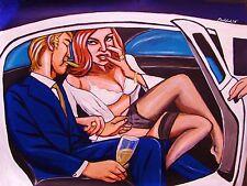 SEX IN A LIMOUSINE PRINT poster cigar cohiba robusto fuente legs champagne bra