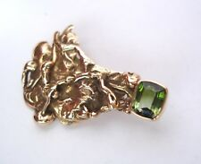 ORGANIC PIN / BROOCH WITH GREEN TOURMALINE, HANDCRAFTED, 14K, 11.14 GRAMS