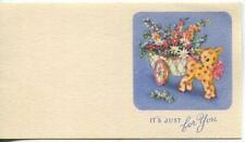 VINTAGE TOY SHEEP PULLING GARDEN FLOWER CART SMALL MINIATURE GREETING ART CARD