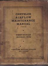 Chrysler Airflow original Maintenance Manual (Code SE) 1934
