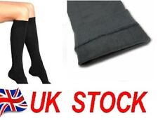 Quality Thick&warm Black Knee High Pop Socks Thermal Fleece Lined 6 Pairs