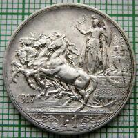 ITALY VITTORIO EMANUELE III 1917 1 LIRA, QUADRIGA, SILVER TOP GRADE