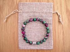 SILVER Buddha Testa, RUBINO ZOISITE Perline Semi Preziose Bracciale & iuta Borsa Regalo