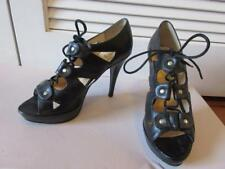 WOMENS GUESS BLACK LACED UP OPEN TOE HEEL PUMPS SIZE 7