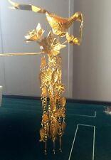 100%Handmade Miao Silver Tassel Phoenix Woman Gold-plated Hairpin Headdress