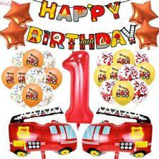 Number 0-9 Kids Birthday Party Decoration Fire Truck Foil Balloons Latex Ball