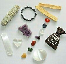 15 Pieces Healing Crystals  and smudge kit Amethyst/Selenite/7 Chakra/Palo Sant