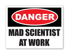 MAD SCIENTIST AT WORK cool funny kids, car, van decal stickers