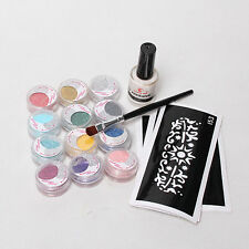 Kids DIY Temporary Tattoo Kit 5 PCS Stencil 12 Color Glitter Powder Glue Brushes