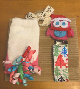 Mud Pie Christmas Baby Socks And Pacy Clip NWT