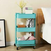 3Tier Metal Rolling Utility Cart Mobile Storage Organizer Trolley Cart Turquoise