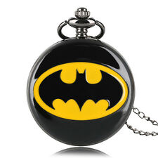 Kids Boy Black Batman Pocket Watch Pendant Quartz Steampunk Necklace Gift
