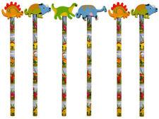 6 Dinosaur Pencils & Erasers - Pinata Rubbers Loot/Party Bag Fillers Wedding/Kid