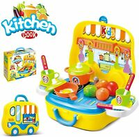 Kids Kitchen Set Role Pretend Play Food Cooking Playset (Yellow)