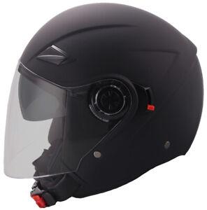 Jethelm 702B Motorradhelm Rollerhelm mit Sonnenvisier Helm matt schwarz S M L XL