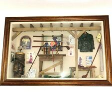 History of Golf Collectible Shadow Box Wood Framed Wall Hanging Case Clubs Green
