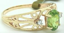 NATURAL 0.68 Cts PERIDOT & DIAMONDS RING 10k GOLD** FREE Shipping & appraisal **