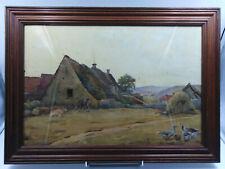 Tabeau ancien aquarelle paysage  Adolphe Gauret ferme signée