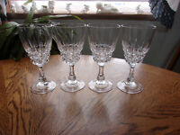 Pompadour Cut Wine Water Crystal Blown - Set of 5 - 10 available