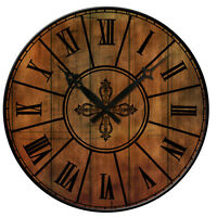 """Vintage Style Wall Clock 15"""" Rustic Shabby Chic Wooden Home Decor Retro Quiet"""