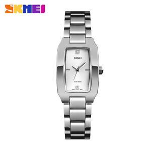 SKMEI Women Ladies Quartz Watch Luxury Stainless Steel Crystal Bracelet 1400 6A