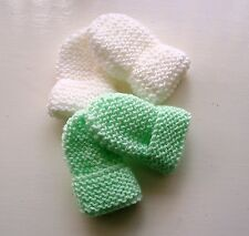 BABY HAND KNITTED MITTENS, 2 PAIRS -  WHITE & PALE GREEN, 0-3 MONTHS, NEW
