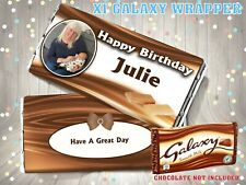 PERSONALISED Photo CHOCOLATE BAR WRAPPER fits Galaxy 110g Birthday Gift