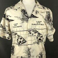 Howie Vintage Aloha Hawaiian Shirt XL Hawaii Island Chart Map USA Made Islands
