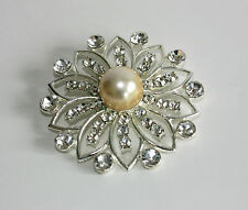 Diamante and Faux Pearl Brooch, Decorate a Coat, Jacket or Dress
