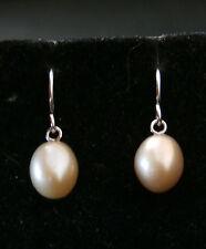 Stunning Pink Fresh Water Pearl Sterling Silver Earrings  Make Offer!  #535