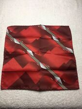 "MENS POCKET SQUARE 10"" X 10"" RED BURGUNDY AND GRAY"