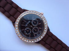 Lovely Geneva Gold and Crystal Faced Pattern Quartz Watch Brown Strap