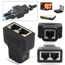 RJ45 Ethernet Cable 1 to 2 Sockt Dual Female Port CAT5/CAT6 LAN Splitter Adapter