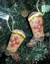 2 Cowboy Boot Christmas Ornament NEW Tin Resin Western Horse Brown Cowgirl Farm