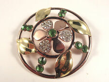 Vtg Open Work Emeral Green/Clear Rhinestone Flower Brooch Pin Rose/Yellow Gold T