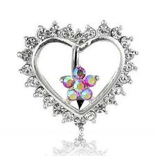 Reverse Top Down Heart Flower Clear Gem CZ Naval Steel Belly Ring Navel B5