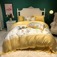 4 Pieces of Sunflower Quilt Cover Soft Silk Bedding Quilt Cover Pillowcase
