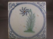 Antique Dutch Delft Tile Flower Rare Tiles 17th century - free shipping