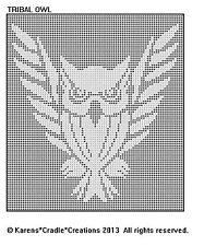 FILET CROCHET PATTERN - OWL TRIBAL Doily/Afghan Pattern