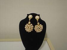 """Marcel M. Monaco big clip drop dangle cluster faux pearl earrings 2.25"""" long"""