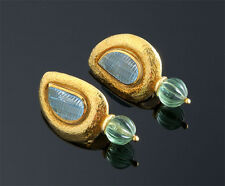 ELIZABETH  GAGE  18K  CARVED  AQUAMARINE  &  FLOURITE  EARRINGS