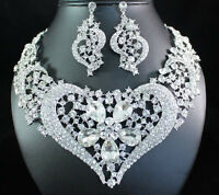 HEART CLEAR AUSTRIAN RHINESTONE CRYSTAL BIB NECKLACE EARRINGS SET BRIDAL N1620C