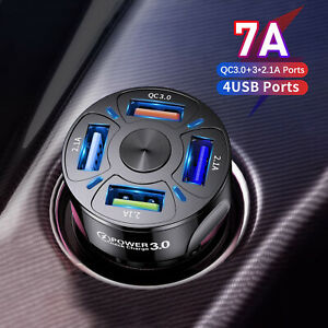 Zigarettenanzünder 4 USB Ladegerät KFZ LKW Auto Ladeadapter Handy iPhone Samsung