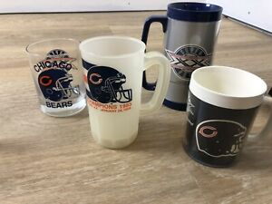 4 Assorted 1985 Chicago Bears Super Bowl XX Twenty Mugs Cups glasses