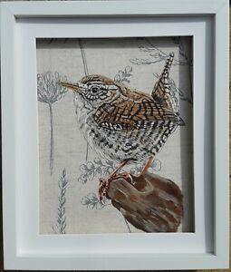 Original wildlife Jenny wren bird picture painting country herbs fabric